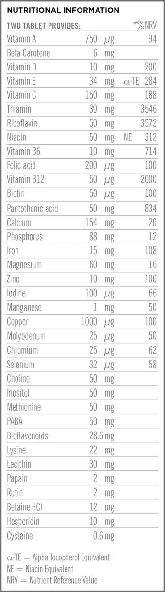 Fem A Day Multi Nutritional Information