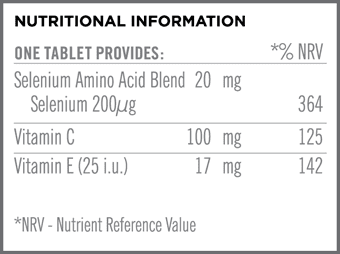 Synergistic Selenium 200mcg Nutritional Information