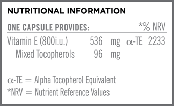 Vitamin E 800i.u. Nutritional Information