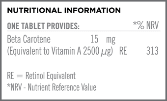 Beta Carotene 15mg Nutritional Information