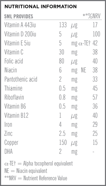 Once A Day Infant Multi + DHA Nutritional Information