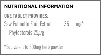 Saw Palmetto 36mg Nutritional Information