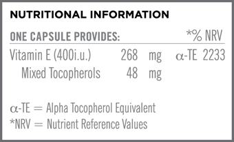 Vitamin E 400i.u. Nutritional Information